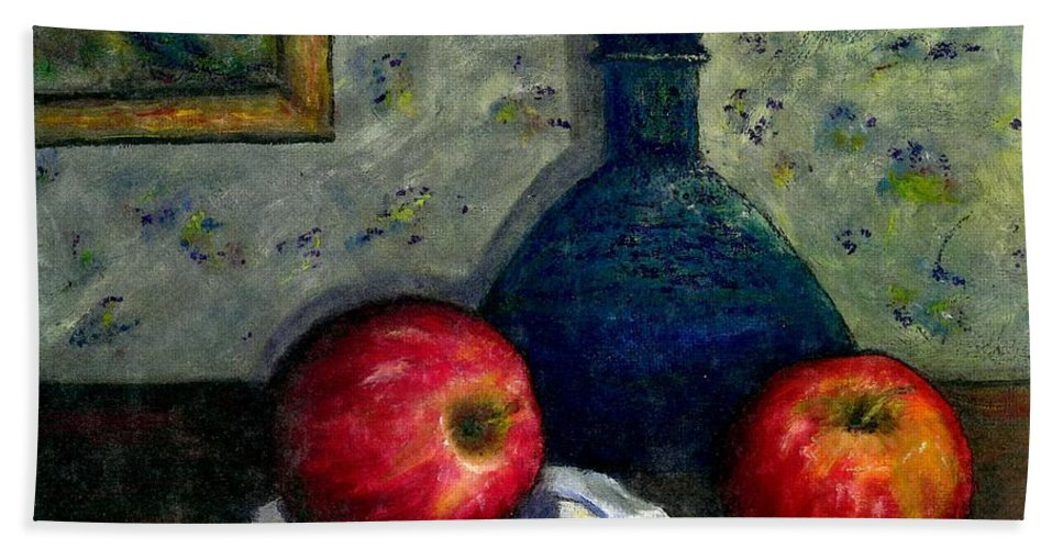 Still Life Bath Sheet featuring the painting Apples And Bottles by Gail Kirtz