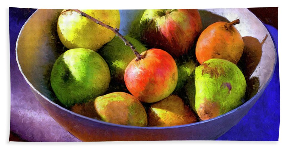 Apples Hand Towel featuring the painting Apples And Pears by Dominic Piperata