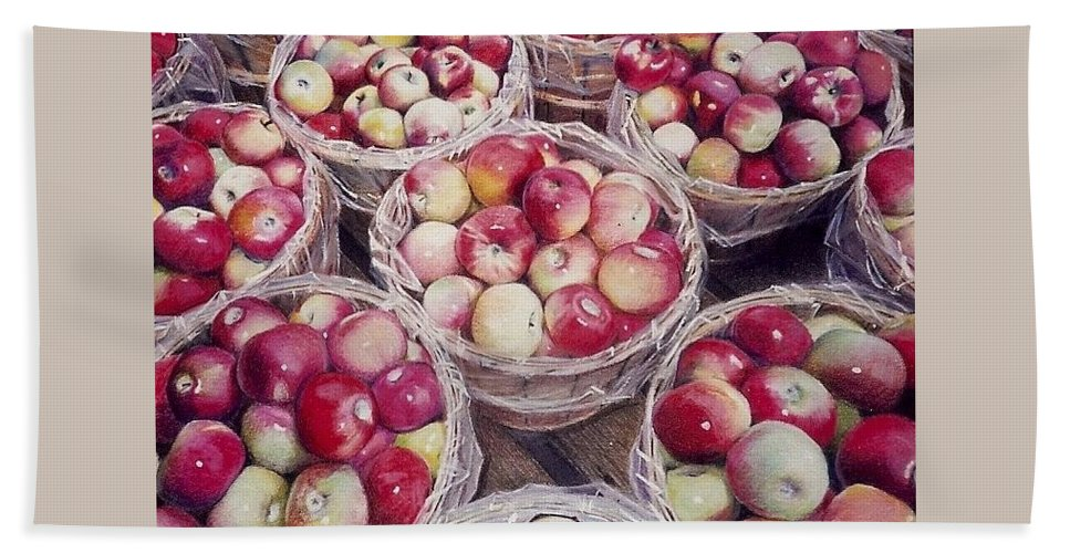 Red Hand Towel featuring the painting Apples by Constance Drescher
