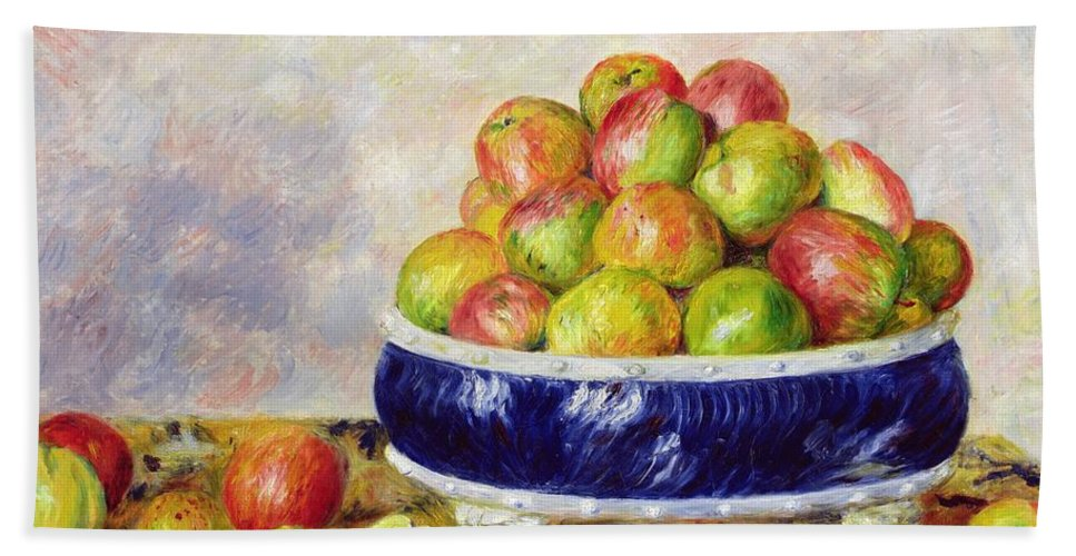 Pierre Auguste Renoir Bath Sheet featuring the painting Apples In A Dish by Pierre Auguste Renoir