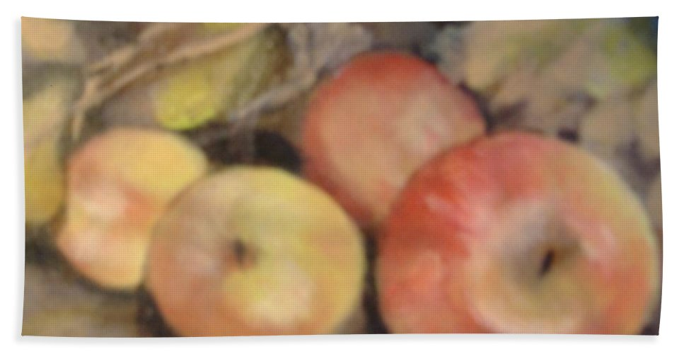Fruit Bath Sheet featuring the painting Apples by Pat Snook