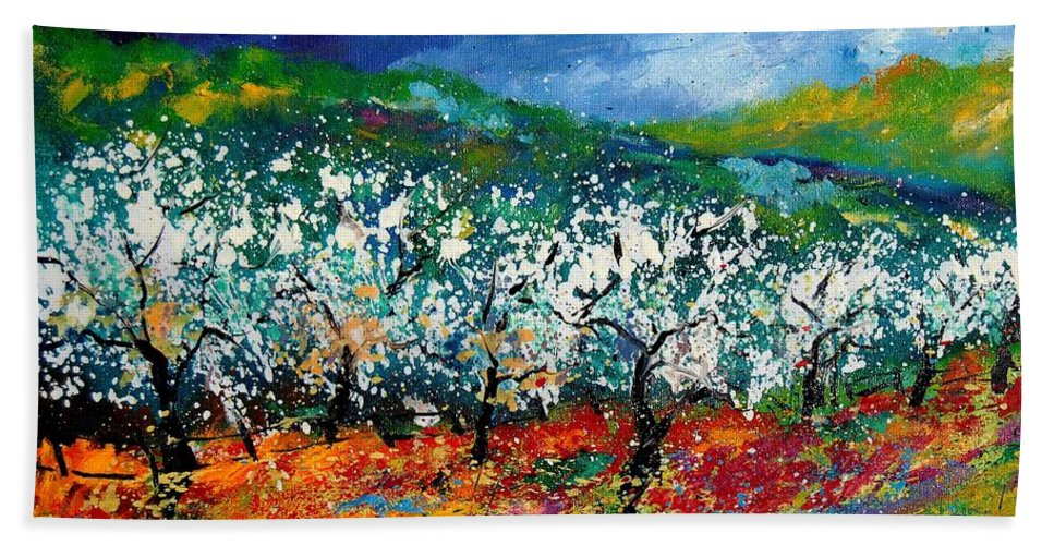 Spring Bath Towel featuring the painting Appletrees 4509070 by Pol Ledent