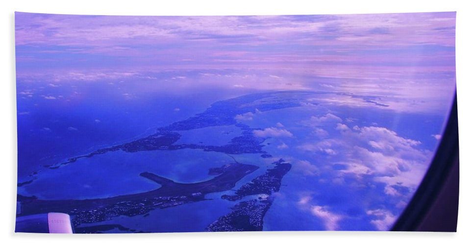 Aerial Art Bermuda Cloud Ocean Outdoors Serene Aviation Travel Destination Island Life Sky Through A Window Airplane Engine Metal Frame Canvas Print Poster Print Available On Pouches Tote Bags Phone Cases Weekender Tote Bags T Shirts Shower Curtains Throw Pillows Mugs Duvet Covers And Mugs Bath Towel featuring the photograph Approaching Bermuda by Marcus Dagan