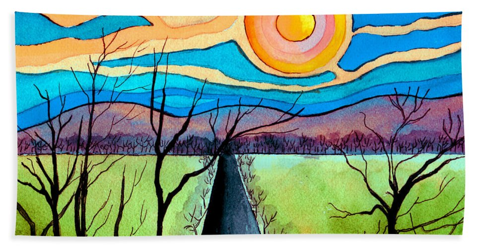Landscape Bath Sheet featuring the painting Approaching Lossarnach by Brenda Owen