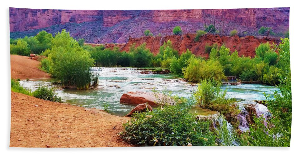 The Grand Canyon Bath Sheet featuring the photograph Approaching Navajo Falls by Gio