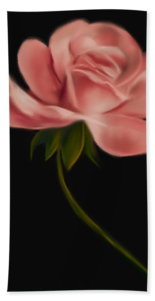 Floral Bath Sheet featuring the digital art Apricot Beauty Rose by Michele Koutris
