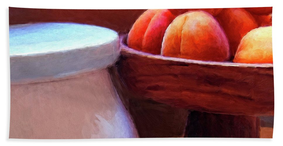 Apricots Hand Towel featuring the painting Apricots by Dominic Piperata