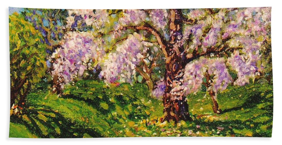 Scenic Hand Towel featuring the painting April Dream by Jonathan Carter
