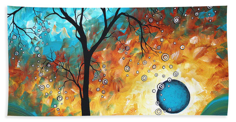 Art Bath Towel featuring the painting Aqua Burn By Madart by Megan Duncanson