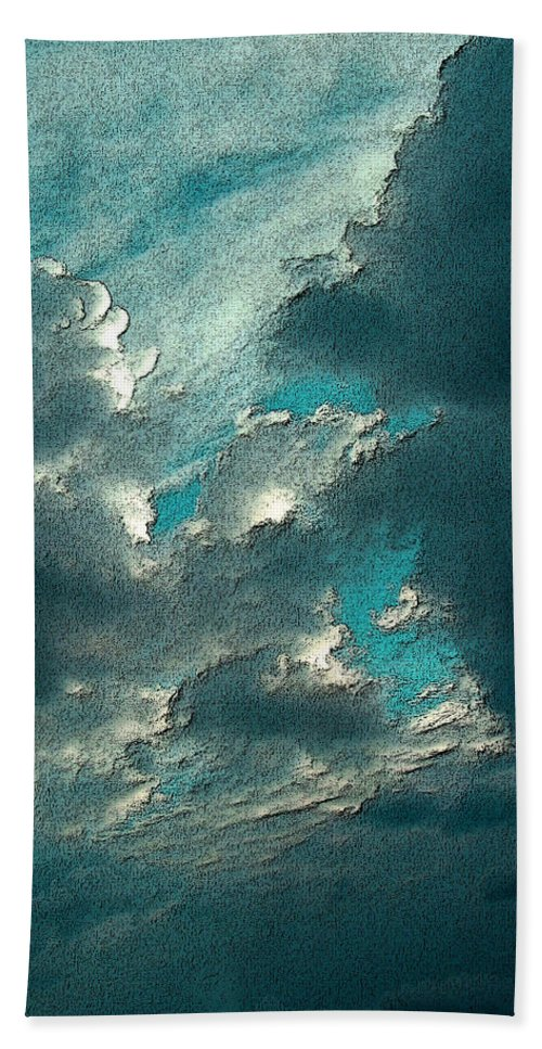 Lookup Hand Towel featuring the photograph Aqua Sky by Mykel Davis