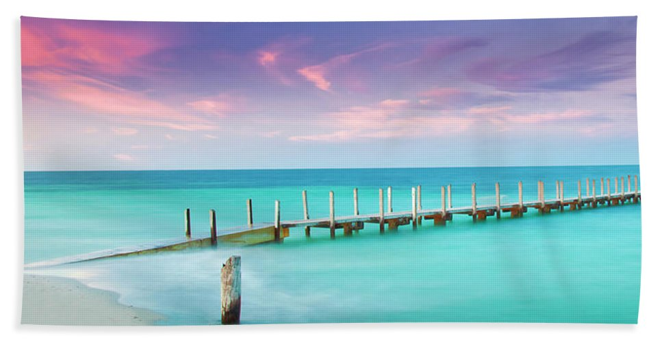 Quindalup Boat Ramp Bath Towel featuring the photograph Aqua Waters by Az Jackson