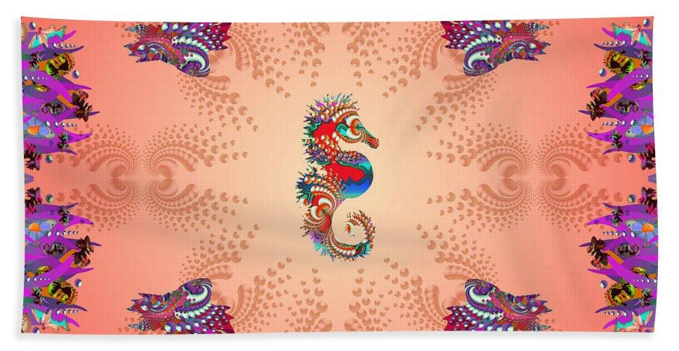 Shells Hand Towel featuring the digital art Aquarium Rising Pinks by Deborah Runham