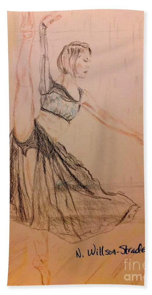 Arabesque On Pointe Hand Towel featuring the drawing Arabesque On Pointe by N Willson-Strader