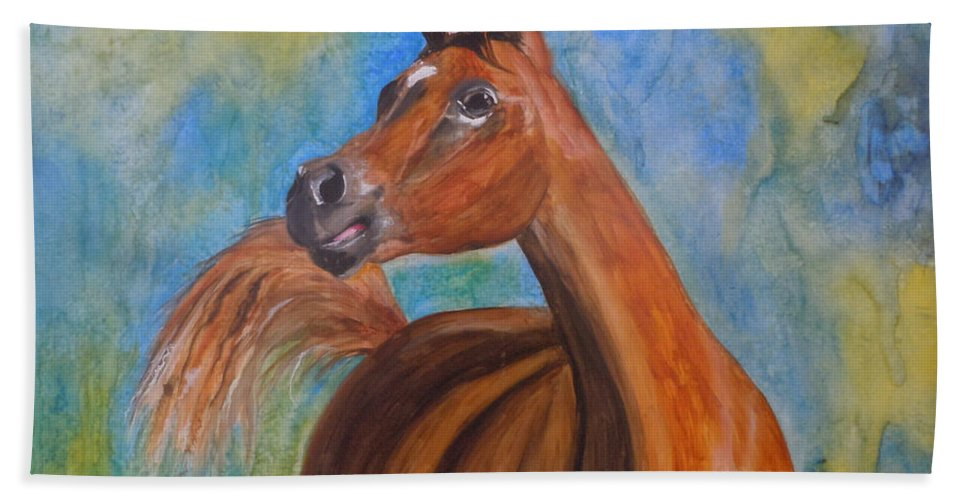 Horse Hand Towel featuring the painting Arabian Beauty by Jean Blackmer