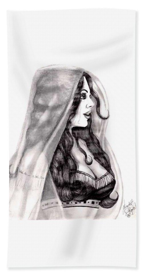 Figure Bath Towel featuring the drawing Arabian Beauty by Scarlett Royal