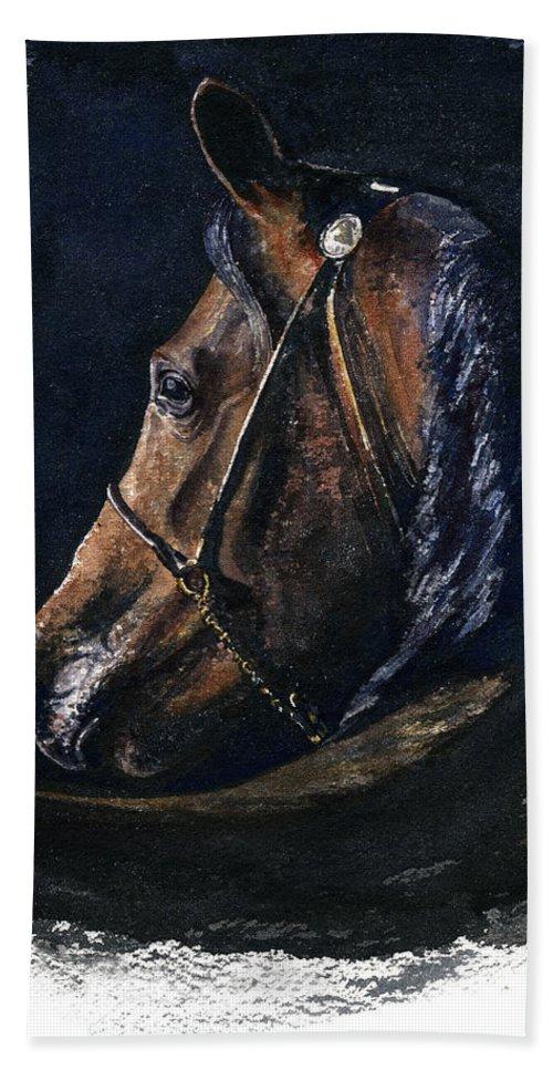 Horse Bath Towel featuring the painting Arabian by John D Benson