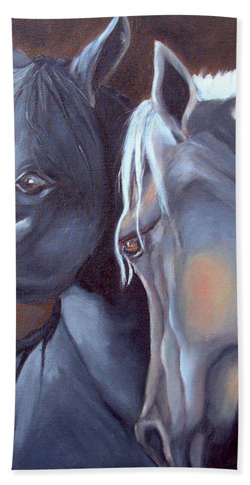Equestrian Art Bath Sheet featuring the painting Arabique by Portraits By NC