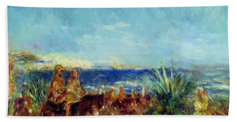 Arabs Hand Towel featuring the painting Arabs By The Sea by Renoir PierreAuguste