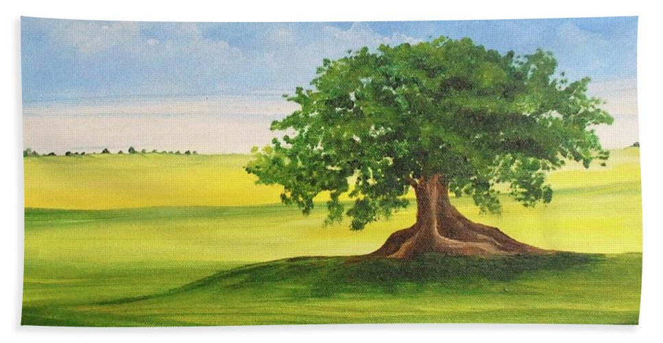 Alicia Maury Prints Hand Towel featuring the painting Arbol De Ceiba by Alicia Maury