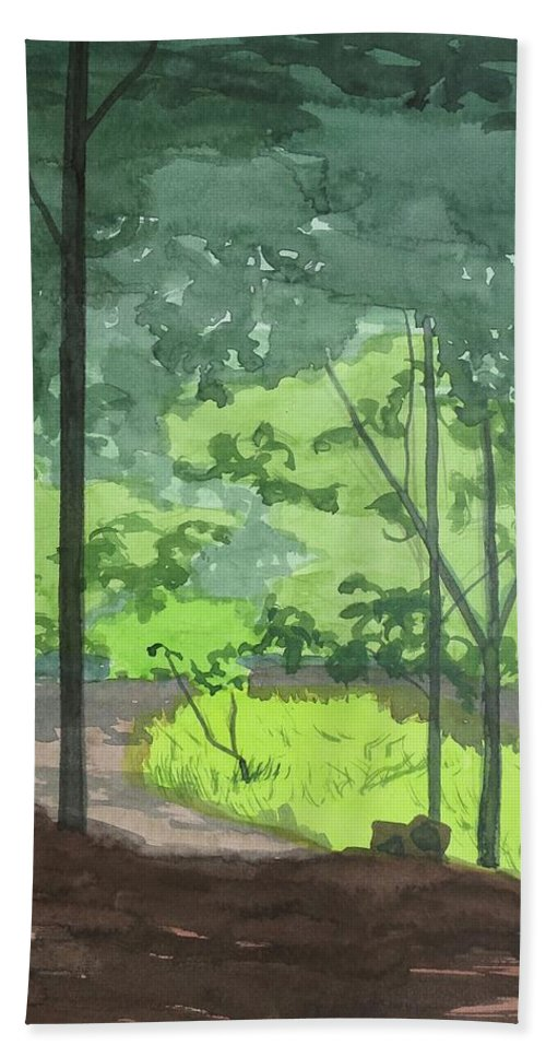 Path Bath Sheet featuring the painting Arboretum Path by Bethany Lee