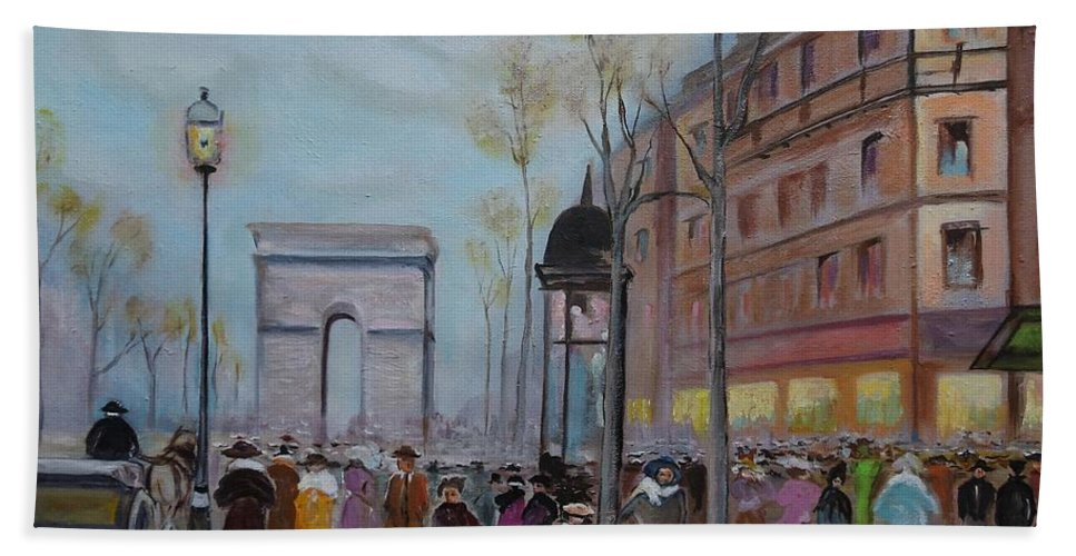 Paris Bath Towel featuring the painting Arc De Triompfe - Lmj by Ruth Kamenev