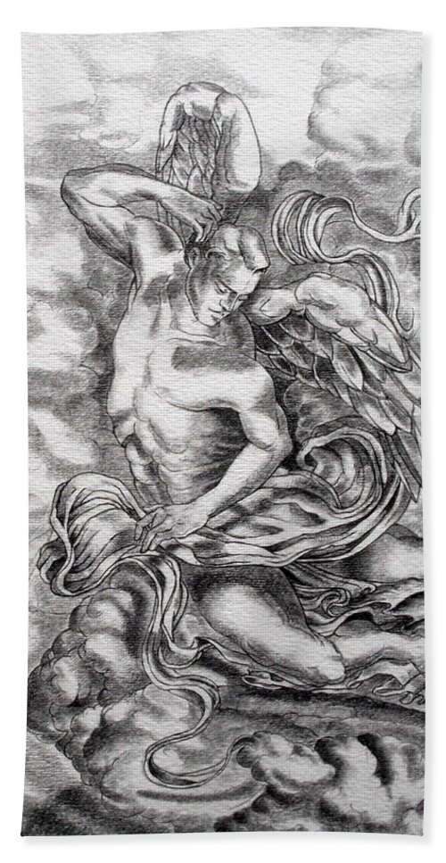 Angel Art Hand Towel featuring the drawing Arch Angel by Gary Renegar