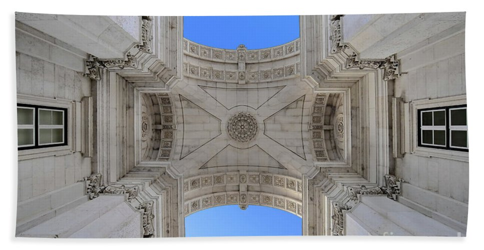 Praca Commercio Bath Sheet featuring the photograph Arch-itecture by Adam Zoltan