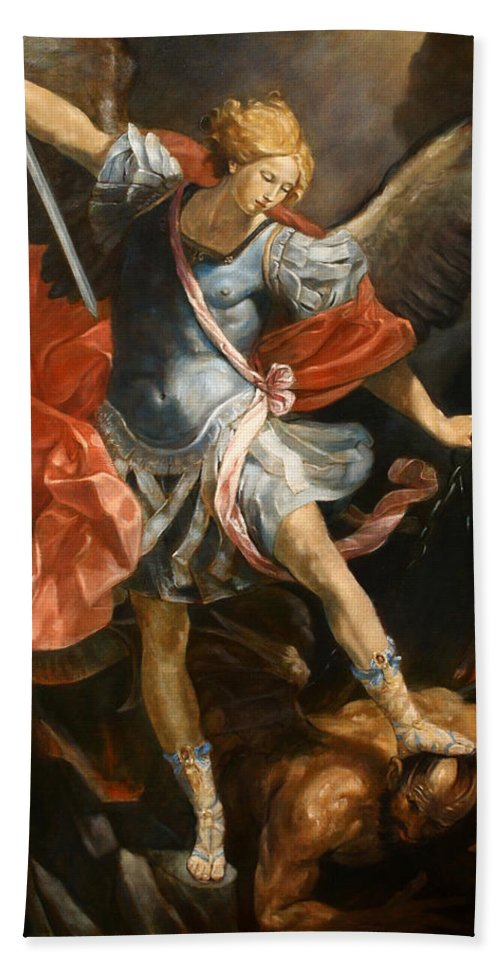 Realism Hand Towel featuring the painting Archangel Michael by Darko Topalski