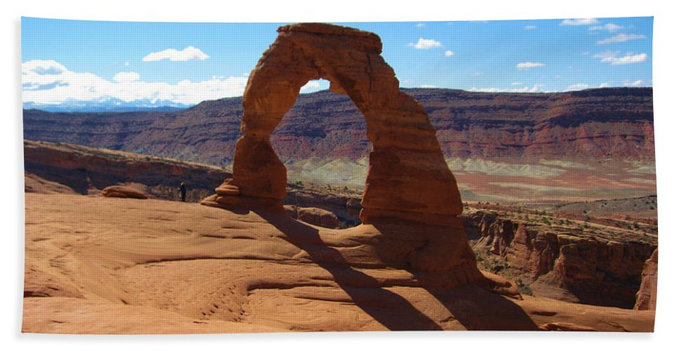 National Park Bath Sheet featuring the photograph Arches by Eric Fellegy