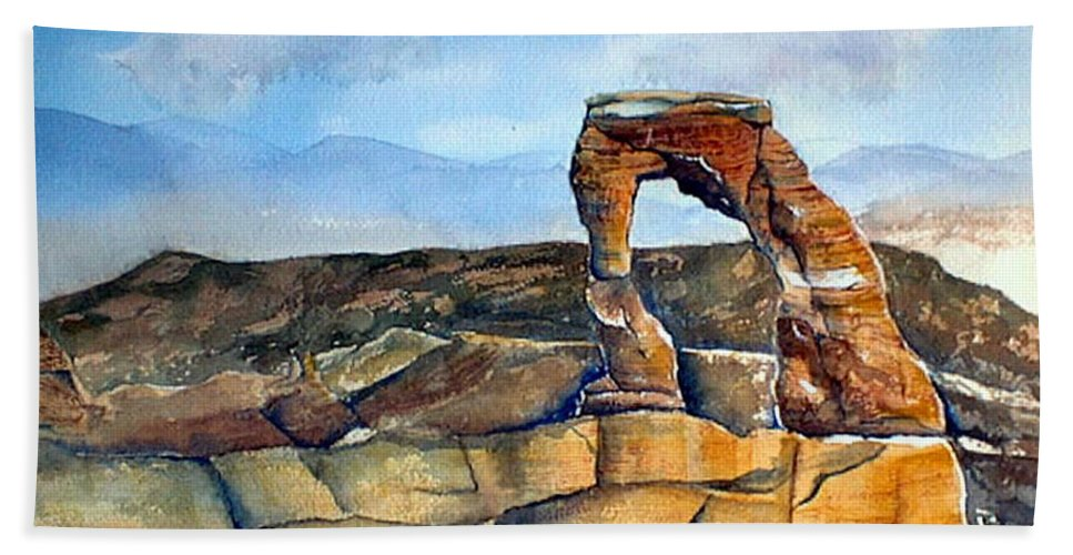 Arches National Park Hand Towel featuring the painting Arches National Park by Debbie Lewis