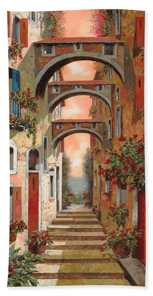 Arches Bath Sheet featuring the painting Archetti In Rosso by Guido Borelli