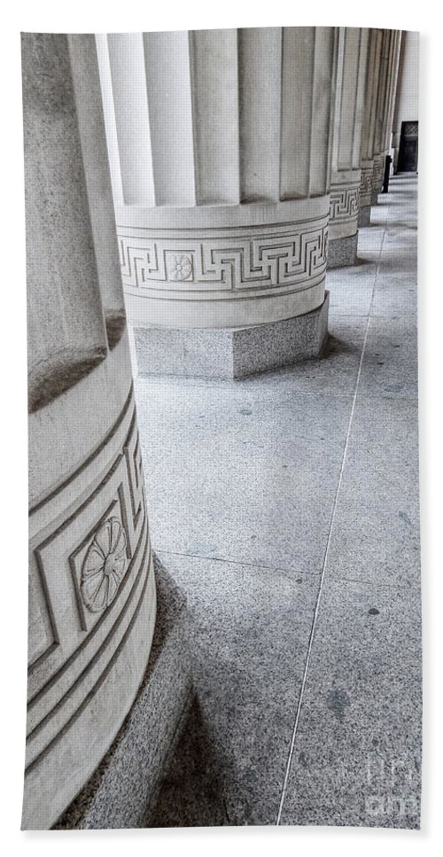 Photography Bath Sheet featuring the photograph Architectural Pillars by Phil Perkins