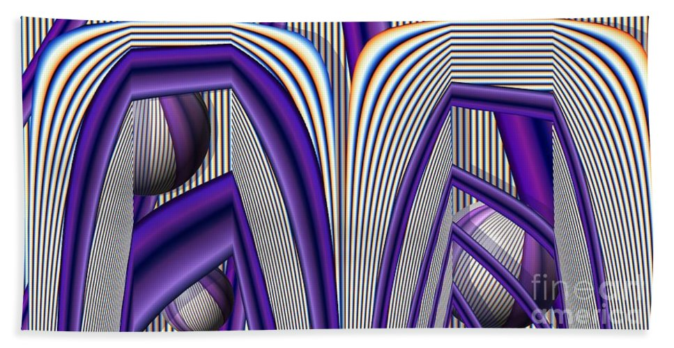 Abstract Bath Sheet featuring the digital art Archways by Ron Bissett