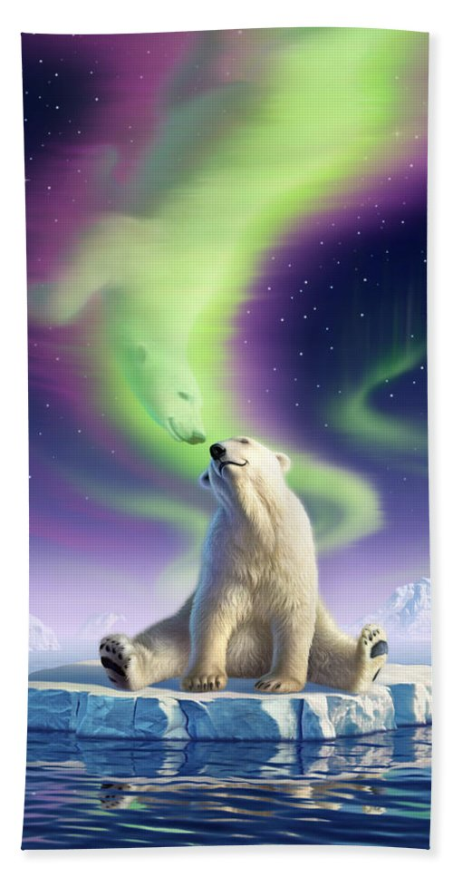 Polar Bear Hand Towel featuring the digital art Arctic Kiss by Jerry LoFaro