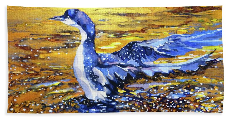Arctic Hand Towel featuring the painting Arctic Loon On Golden Pond by Beverly Berwick