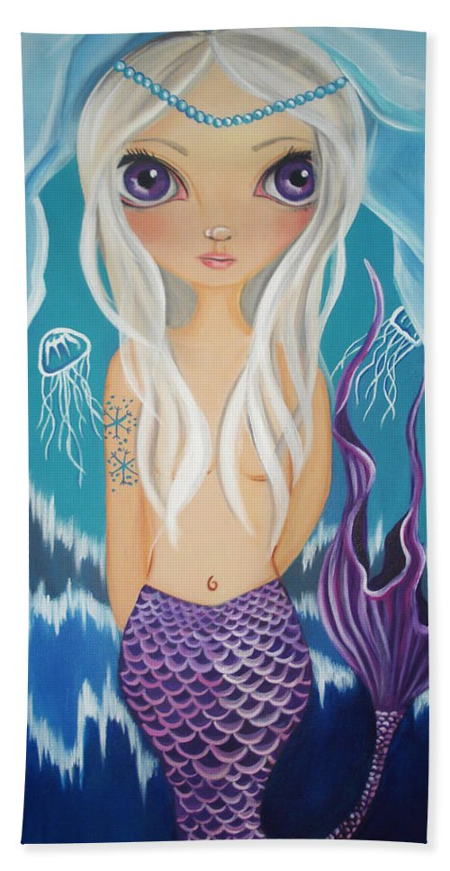 Arctic Hand Towel featuring the painting Arctic Mermaid by Jaz Higgins