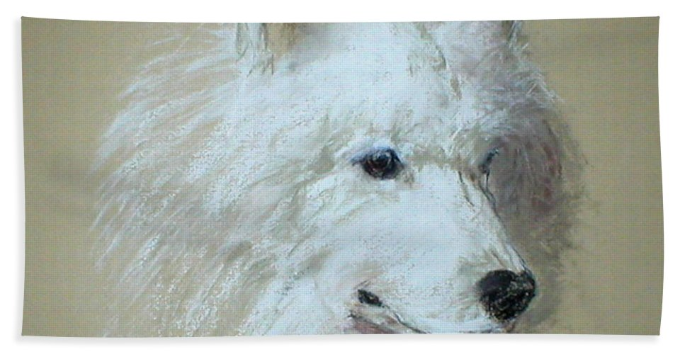 Dog Hand Towel featuring the drawing Arctic Serenity by Cori Solomon