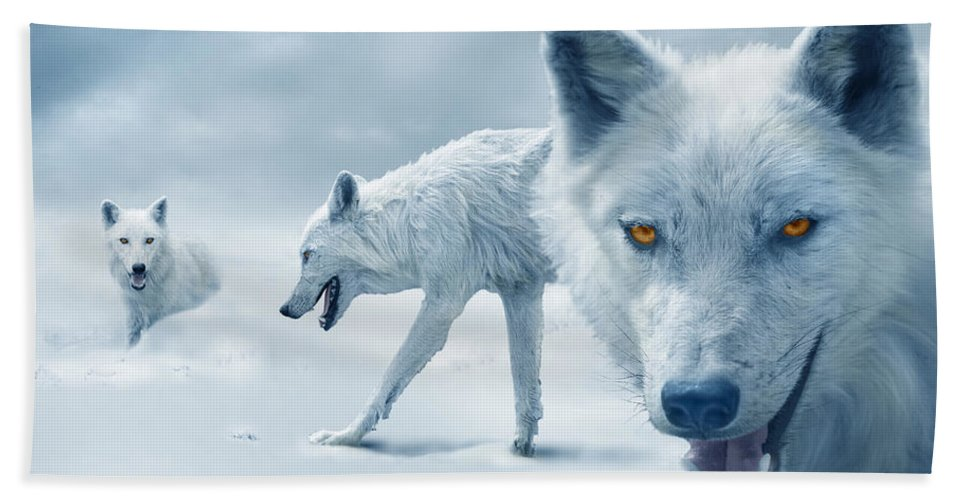 Arctic Bath Towel featuring the photograph Arctic Wolves by Mal Bray