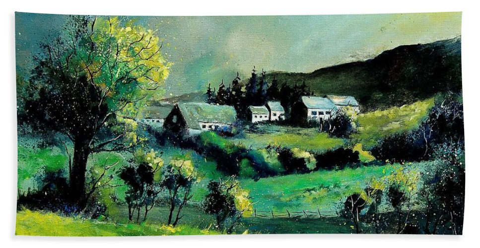 Spring Hand Towel featuring the painting Ardennes 79 by Pol Ledent