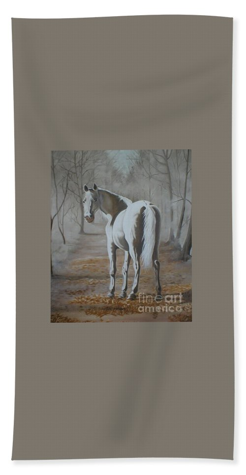 White Horse Looking Autumn Leaves Trees Avenue Shadows Bath Towel featuring the painting Are You Coming by Pauline Sharp