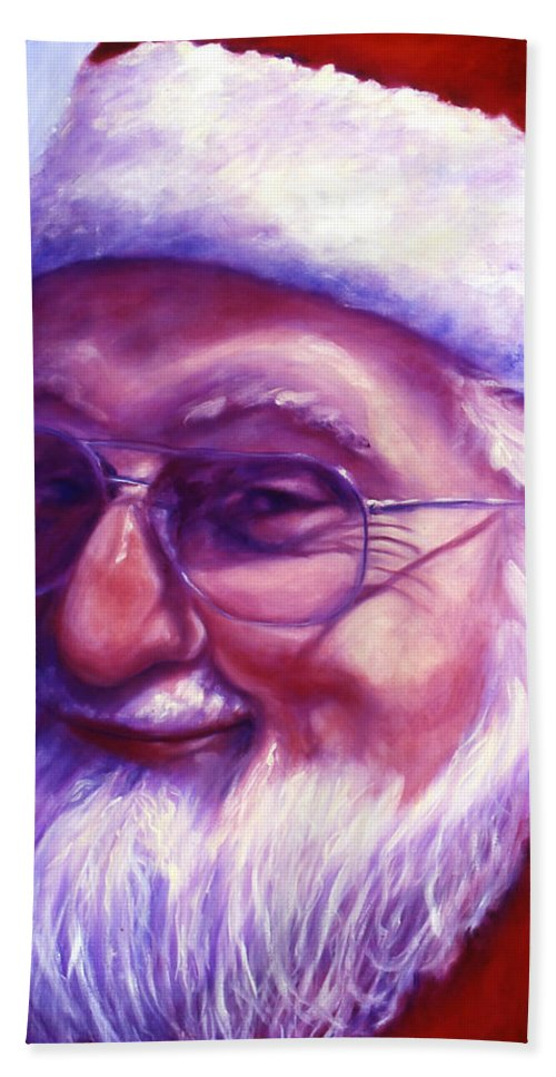 Portrait Hand Towel featuring the painting Are You Sure You Have Been Nice by Shannon Grissom