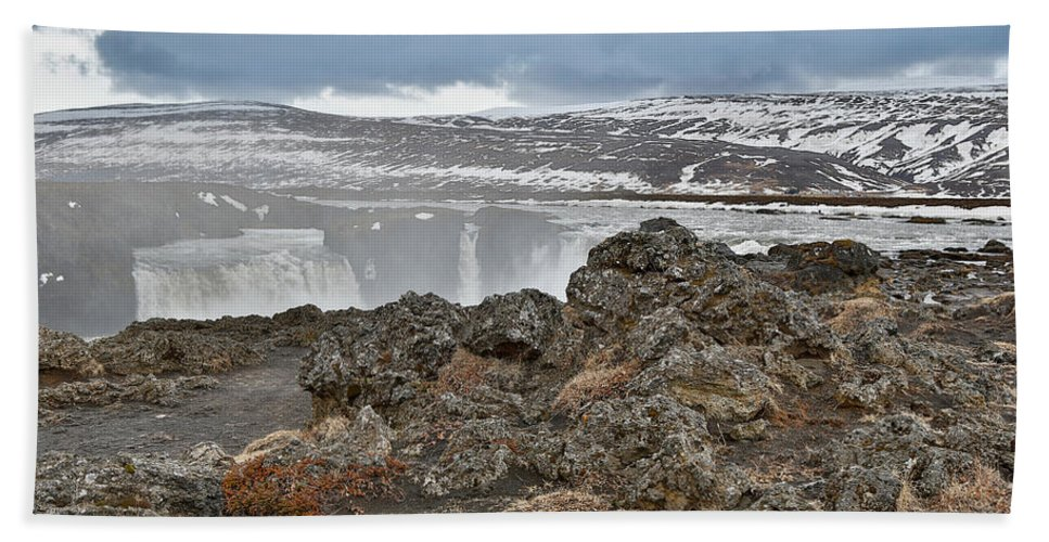 Photography Bath Sheet featuring the photograph Area By Godafoss Waterfalls, Iceland by Panoramic Images