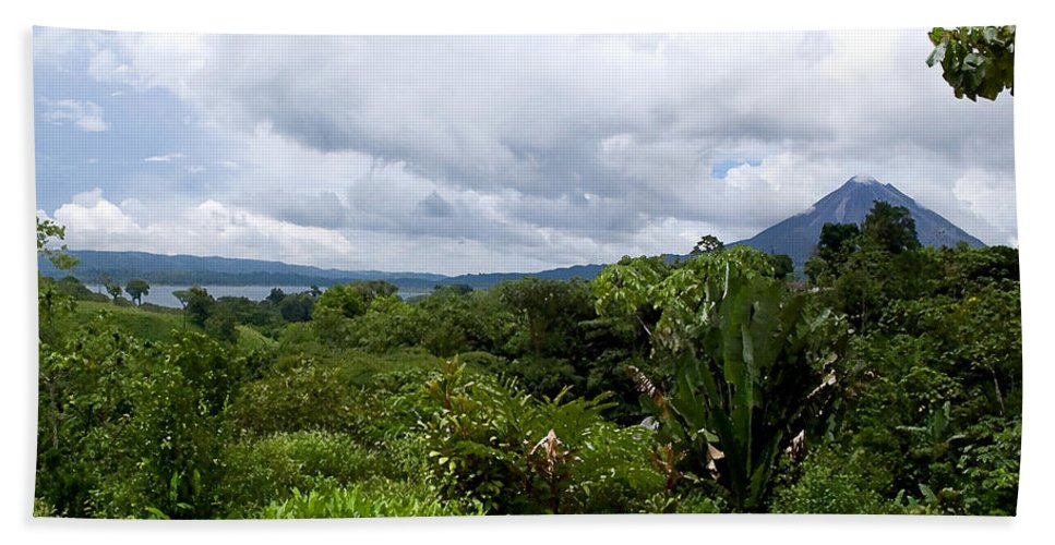 Costa Rica Hand Towel featuring the photograph Arenal Lake And Volcano by Patricia Bolgosano