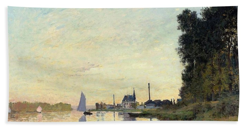 Claude Monet (french Bath Sheet featuring the painting Argenteuil by MotionAge Designs