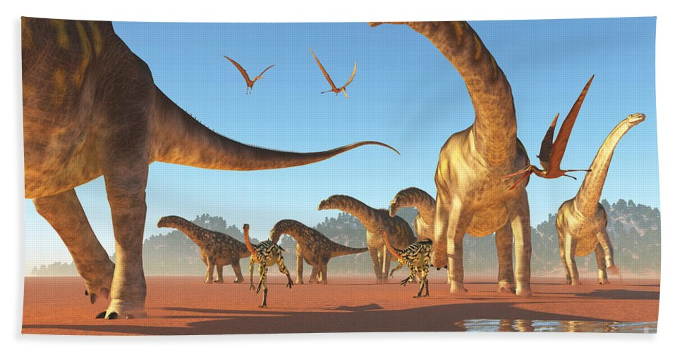 Argentinosaurus Hand Towel featuring the painting Argentinosaurus Herd by Corey Ford