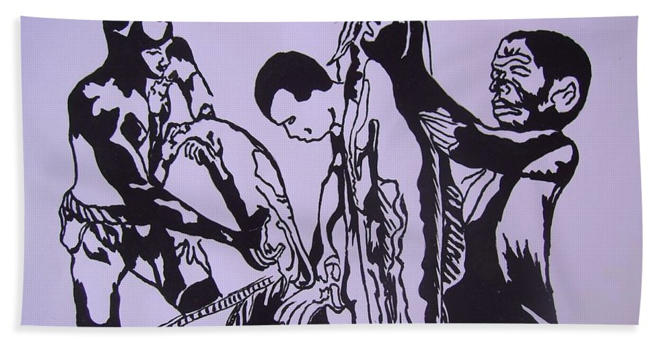 Festival Hand Towel featuring the painting Argungun Fish Festival by Olaoluwa Smith