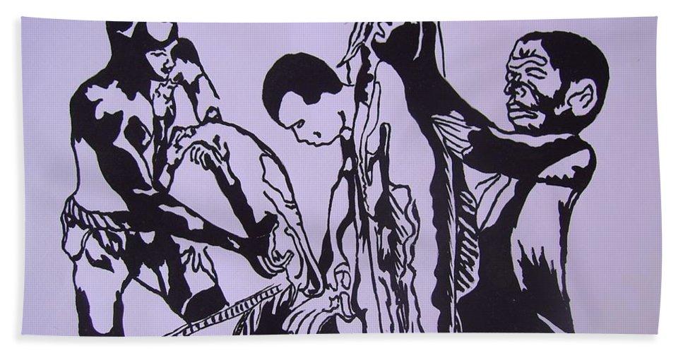 Festival Bath Sheet featuring the painting Argungun Fish Festival by Olaoluwa Smith