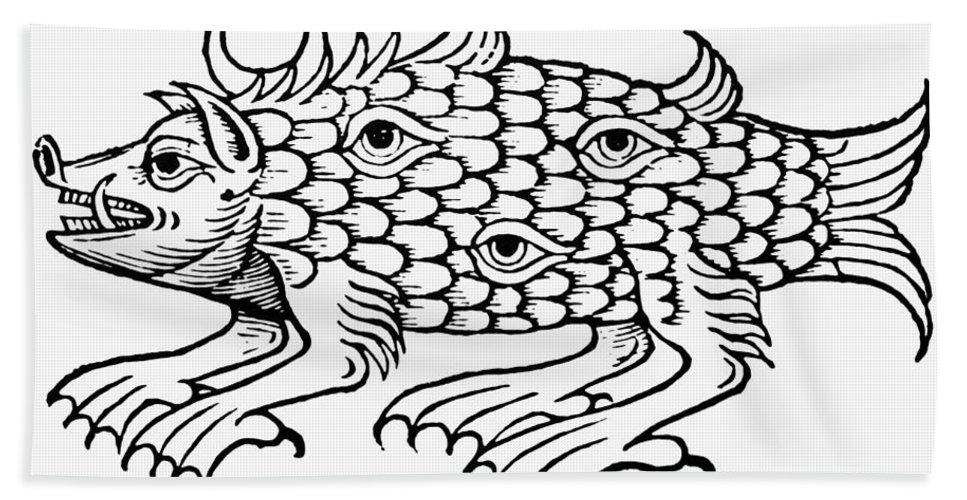 1537 Bath Sheet featuring the photograph Argus Sea Monster, 1537 by Granger