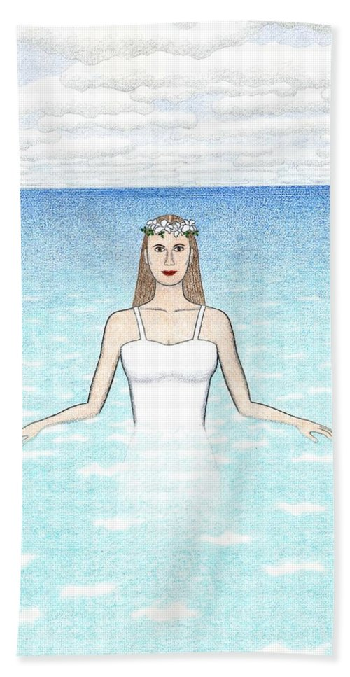 Meditation Bath Sheet featuring the drawing Ariadne by Kathy Pullen