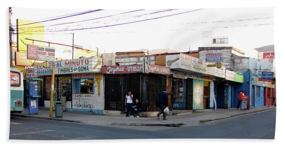 Arica Bath Sheet featuring the photograph Arica Chile Street Corner by Brett Winn